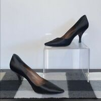 Salvatore Ferragamo Black Satin Pumps