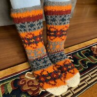 Woollen Socks Nepalese Hand Knitted Lined Fleece Mixed Color Slippers Room Shoes