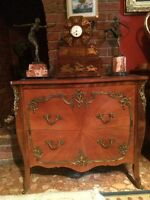 Antique French Louis XV Style Bombe Canted Ormolu Mounted Commode Chest Drawers