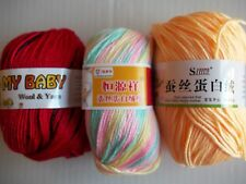 6-ply silky baby yarn, yellow/pastels/red with black, mixed lot of 3