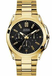 Guess Chronograph Armbanduhr Multifunktionsuhr W1176G3 vergoldet Quarz schwarz