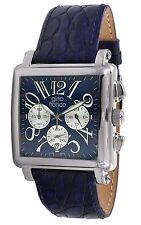 Men's Analog Quartz Square Chronograph with Genuine Leather Strap Watch