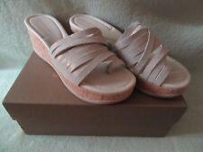 Donald J Pliner 9M Metallic Leather Cork Wedge Sandals NIB Really Cute $230+