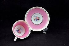 VINTAGE PARAGON TEA CUP AND SAUCER DOUBLE WARRANT pink gold w/roses c 1933-1937