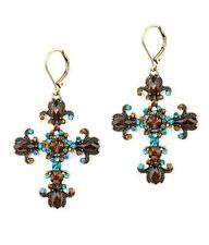 H7 Cross Crucifix EARRING Christian Faith Antique Gold Tone Glass Crystal NEW