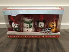 New DISNEY STORE Ceramic 4 Piece Ornament Set MICKEY MINNIE PLUTO & SNOWMAN