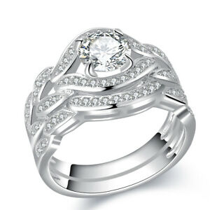 Round Cz 10k White Gold Plated Wedding Engagement Ring Set For Women Size 6
