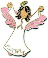Lapel Pin Breast Cancer Awareness Pink Ribbon Brunette Hair Angel Tac New
