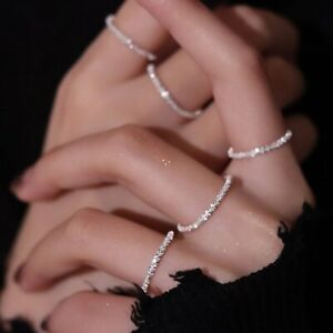 Fashion 925 Silver Ring Simple Decorative Finger Ring Women Wedding Jewelry Gift