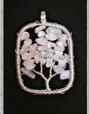 Tree of Life Wire Wrapped Rose Quartz Necklace Pendant ♡ Pink Gem Stone Crystals