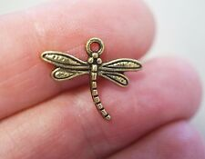 10 Metal Antique Bronze Colour Dragonfly Charms - 17mm