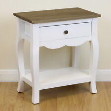 Shabby Chic White & Wood Top 1 Drawer Bedside Storage Unit/Cabinet Lamp Table