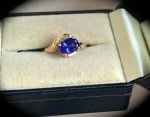 1.15Ct Oval Cut Tanzanite & Diamond Women's Engagement Ring 14K Yellow Gold Over