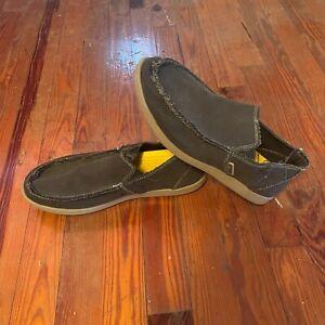 Crocs Santa Cruz Black Khaki Frayed Edges Beach Slip On Loafers Shoes Mens 11