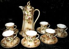 Nippon Cocoa Set, Hand Painted, Moriage Application 1800's Back Stamp Complete