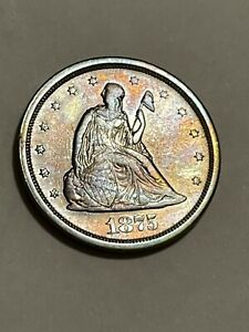 1875-S Twenty Cent Piece Better Grade United States Silver Coin Toned Sharp ++