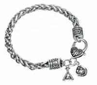 Silver Braided Softball Bracelet