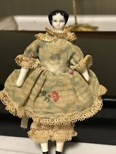 "Vintage Miniature Porcelain Head Hands Legs Doll Dollhouse Soft Body 4.5"" Tall"