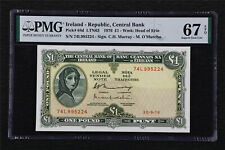 1976 Ireland - Republic Central Bank 1 Pounds Pick#64d PMG 67EPQ Superb Gem UNC