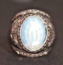 Sterling silver men ring, steel pen craft handmade, created moonstone stone