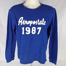 Aeropostale 1987 Original Brand Mens T-Shirt  Long Sleeve 100% Cotton Blue Sz M
