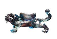 Chinese Liuli Crystal Glass Pate-de-verre Blue Pixiu Display Figure vs242