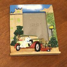 Raised 3D Photo Frame - Collector's Antique Car Parked At Mansion, Dog On Side
