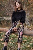 Free People For Love And Lemons Brocade Floral Tapestry Flared Pants Size XS New