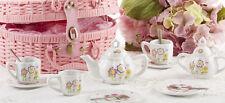 Delton Children's Porcelain Tea Set for 2 in Wicker Basket SMILEY