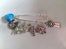 I LOVE HORSES PONIES inspired Tibetan Silver Kilt Pin Brooch 5 charms gift bag