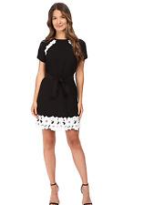 Kate Spade New York Lace Trim Satin Crepe Dress, NWT, sz.8 ,Black, orig$348 BEAU