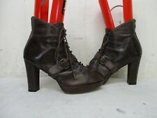 Seychelles Brown Leather Lace Up High Heel Ankle Boots Womens Size 10