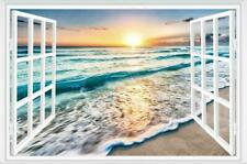 3D Fake Window Sunrise Ocean Beach Wall Sticker Vinyl Mural Decal Wallpaper
