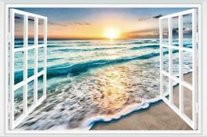 3D Fake Window Sunrise Ocean Beach Wall Sticker Vinyl Mural Decal Wallpaper