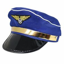 Kids Adults Fancy Dress Airforce Air Pilot Plane Airline Captain Uniform Hat Cap