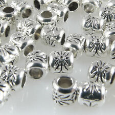 50x Metallperlen Spacer kleine Beads 4,3x4mm Metall Perlen altsilber Metallbeads