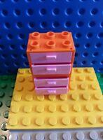 LEGO Orange Minifig Cabinet Pink Slide Drawers x2 Friends Creator City Belville