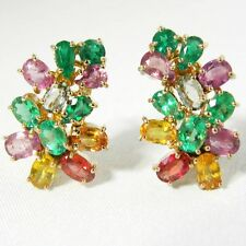 6.00 Ct Multi Color Natural Sapphire Emerald Cocktail Cluster Earrings 18k Gold