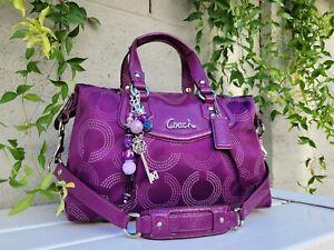 Coach 20027 DOTTED Ashley PURPLE BERRY satchel Purse handbag shoulder bag EUC