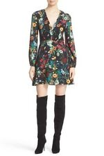 NWT Alice + Olivia Midnight Meadow Floral V neck Dress Size 4