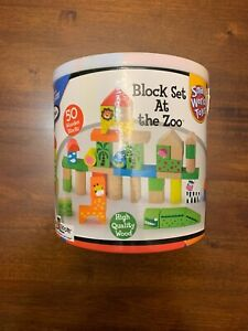Small World Toys Kids Block Set At The Zoo 50 Wooden Blocks 2+ Years