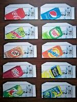 "(10) SODA VENDING MACHINE 12oz ""CAN""  Vend Labels (Flavor Strip) -VARIETY PACK"