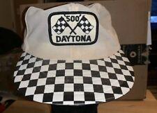 Vintage Daytona 500 SnapBack Hat Checkered Flag Bill Sewn Patch
