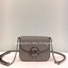 NWT Michael Kors Fulton Small Pearl Grey Leather Crossbody Bag $148