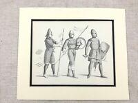 Vintage Costume Stampa Norman Conquest Soldier Militare Cavaliere Armatura Casco