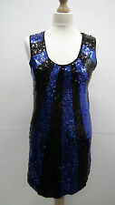 New Look Blue and Black Sequined  Dress size 12