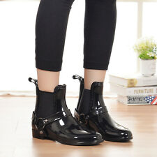 Spring Punk Women Black Pull on Jelly Rain Waterproof Ankle Boots Shoes Outdoor