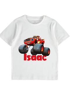 Blaze monster machine personalised tshirt girls boys toddler tops name birthday