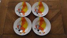 Lote De 4 Platos Creuse Vintage « Disney - Donald » En Muy Buen Estado