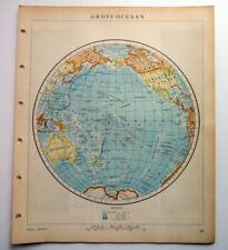 Pacific Ocean Map Vintage 1950 Dutch Language